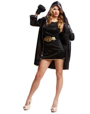 Zwart bokser kostuum voor vrouw
