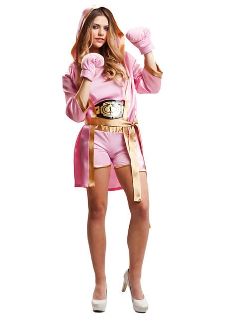 Déguisement boxeuse rose femme