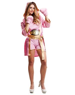 Roze bokser kostuum voor vrouw