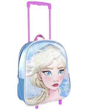 Ghiozdan cu rotile 3D Elsa Frozen cu paiete