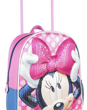 Cartable à roulettes 3D Minnie mouse à paillettes - Disney