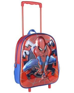 Ghiozdan cu rotile 3D Spiderman metalizat