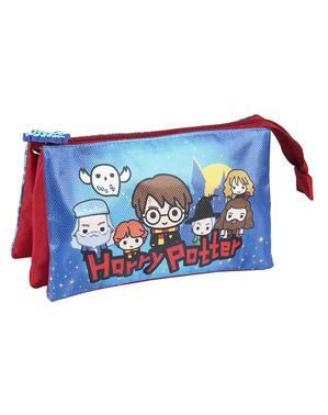 Estuche de Harry Potter con tres compartimentos