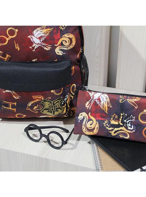 Estuche de Harry Potter con tres compartimentos estampado