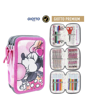 Minnie Mouse Pencil Case with 3 Compartments - Disney