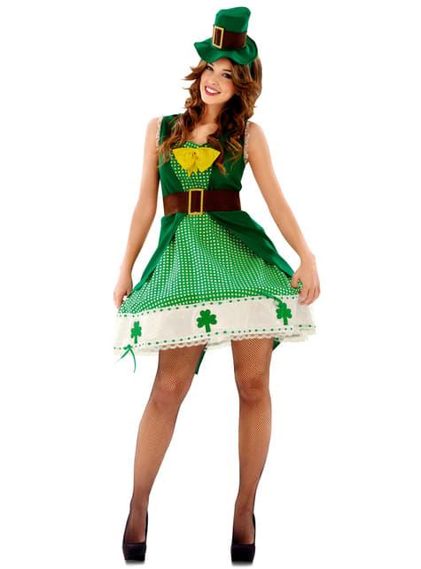 Fato de Leprechaun irlandesa para mulher