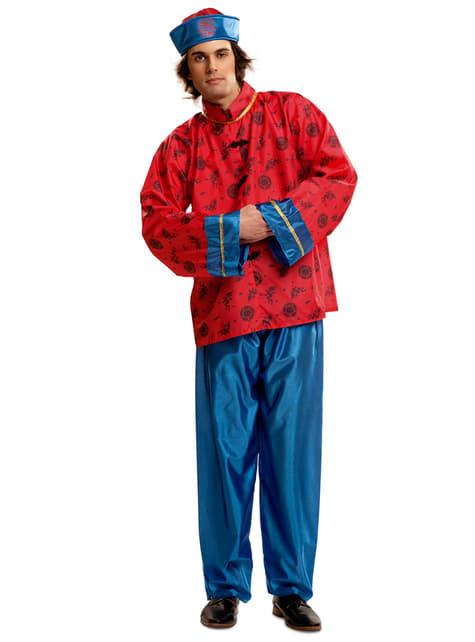 Disfraz de chino mandarín rojo y azul para hombre