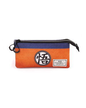 Dragon Ball Pencil Case with Three Compartments in Orange and Blue
