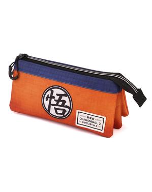 Estojo de Dragon Ball com três compartimentos laranja e azul