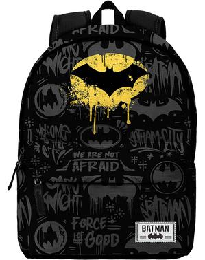 Ghiozdan Batman negru cu imprimeu
