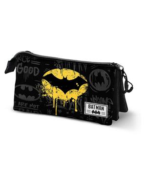 Batman Black Pencil Case with 3 Compartments