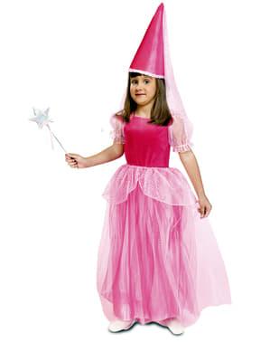 Fato de fada cor-de-rosa dos contos para menina