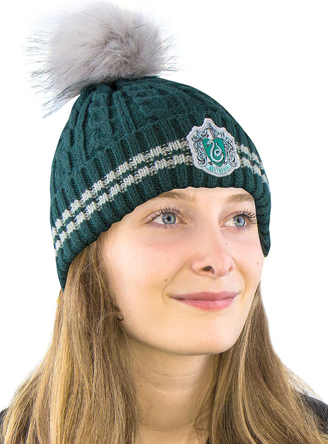Gorro Slytherin con pompón - Harry Potter