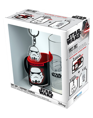 Confezione regalo Stormtrooper: tazza, bicchiere, portachiavi - Star Wars