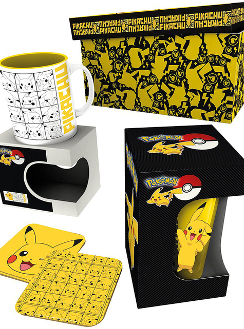 Pack regalo Pikachu: taza, vaso, posavasos - Pokemon