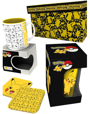 Pikachu gavesæt: Krus, glas, ølbrikker - Pokémon