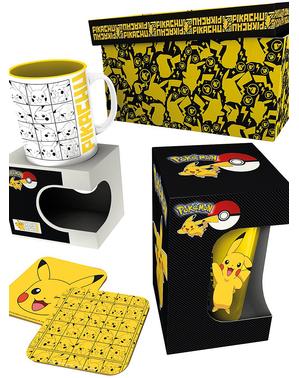 Pikachu Geschenk Set: Tasse, Glas, Untersetzer - Pokémon
