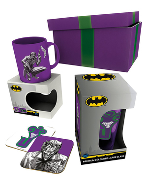 Joker Geschenk Set: Tasse, Glas, Untersetzer