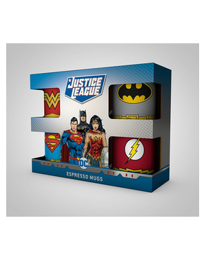 4 Justice League Espresso Mugs - DC Comics
