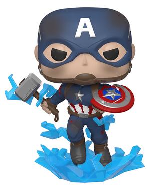 Funko POP! Capitán América con el escudo roto y el Mjolnir - Vengadores: Endgame