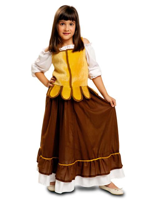Fato de empregada de mesa medieval para menina