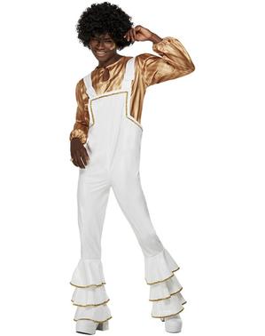 Costum disco anii 70 alb pentru bărbat