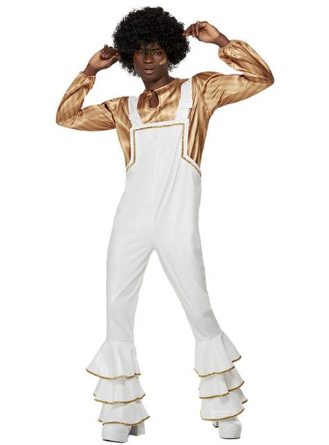 70 Λευκό Disco κοστούμι για Άνδρες