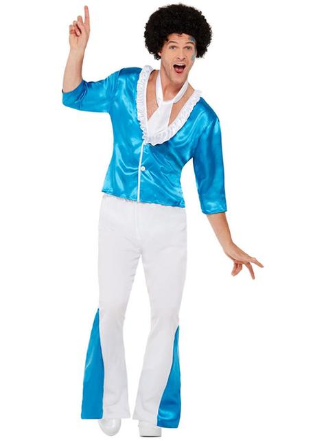 Λευκό '70 Disco κοστούμι για Άνδρες