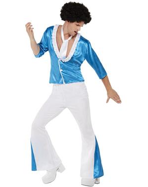 Costum anii 70 disco alb pentru bărbat