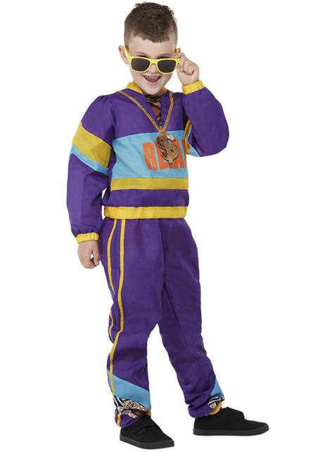 Disfraz años 80 morado para niño