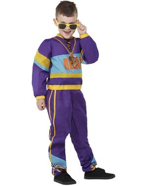 80er Jahre Kostüm lila für Jungen