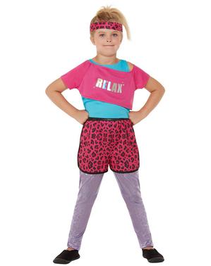 80年代のエアロビクス女の子のためのコスチューム