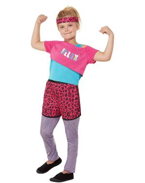 Jaren 80 Aerobics-kostuum voor meisjes