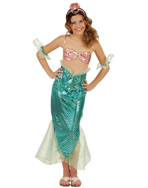 Costume da sirena turchese per bambina