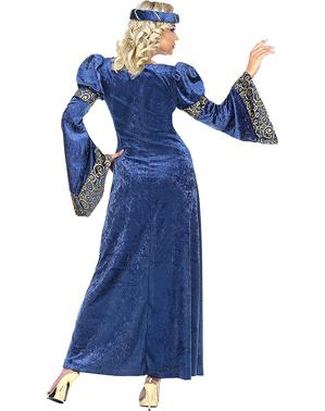 Fato renascentista azul para mulher