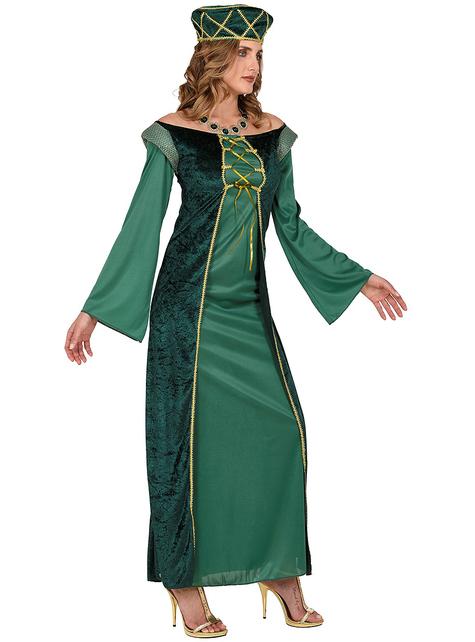 Zielona sukienka Średniowieczna Księżniczka