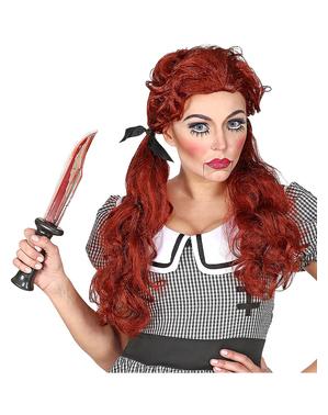 Peruca de boneca ruiva para mulher
