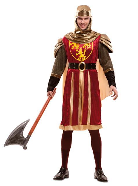 Disfraz de caballero de las cruzadas rojo para hombre