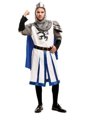 Hvidt middelaldersk ridderkostume til mænd
