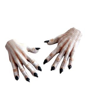 大人の白い歩行者の手
