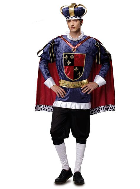 Disfraz de rey medieval azul para hombre