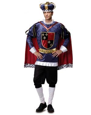 Blåt middelaldersk kongekostume til mænd