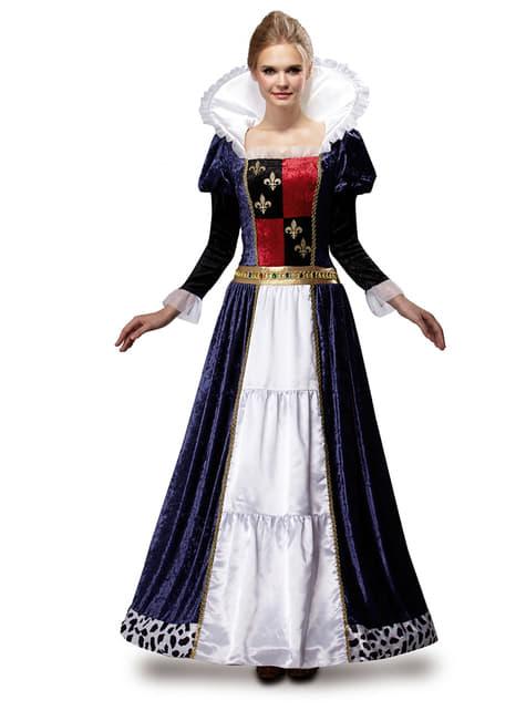 Női kék középkori királynő ruha