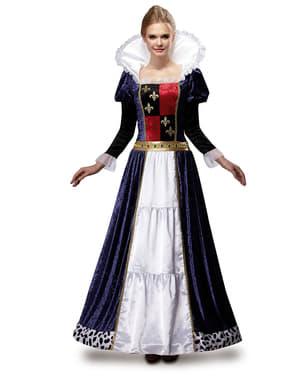 Déguisement reine médiévale bleu femme