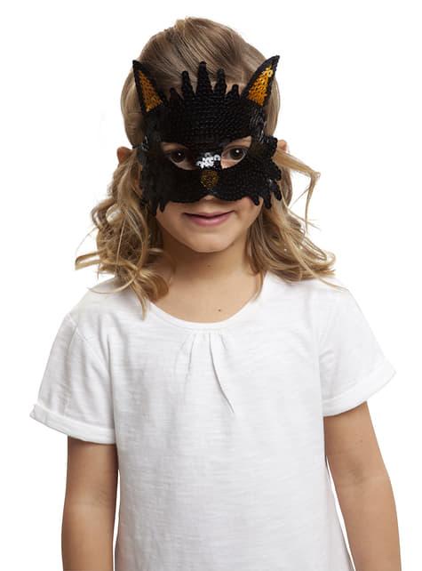 Antifaz de gato brillante para niña