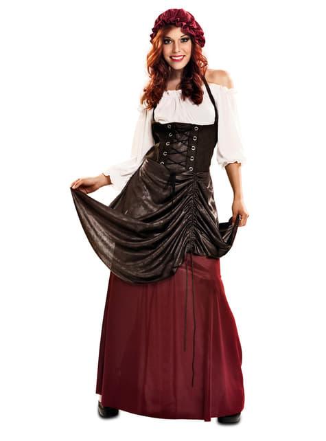 Kostium dziewczyna ze średniowiecznej tawerny damski