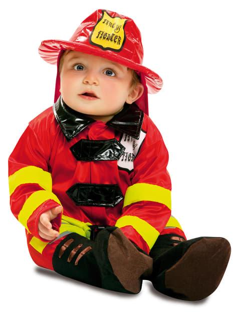 Fato de bombeiro valente para bebé