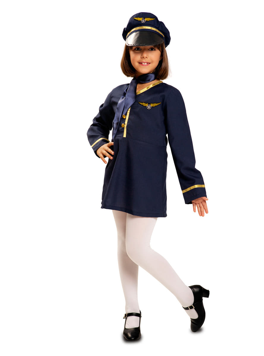 Girls Flight Attendant Costume Fast Delivery Funidelia