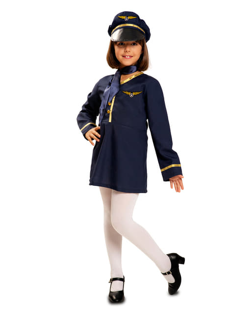 Disfraz de asistente de vuelo para niña