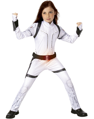 Costum Văduva Neagră alb pentru fată